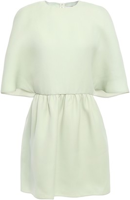 Valentino Cape-effect Gathered Silk-gazar Mini Dress