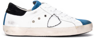 Philippe Model Paris Sneaker Made Of White Leather And Blue Suede