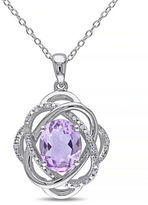Concerto Amethyst and Diamond Sterling Silver Orbit Pendant Necklace
