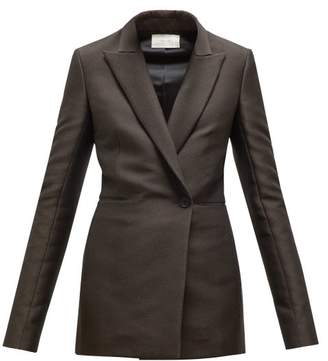 The Row Ciel Double Breasted Twill Jacket - Womens - Dark Brown