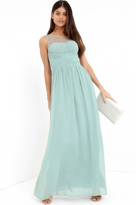 Little Mistress Grace Sage Embellished Neck Maxi Dress
