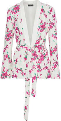 Rachel Zoe Belted Floral-print Crepe Blazer