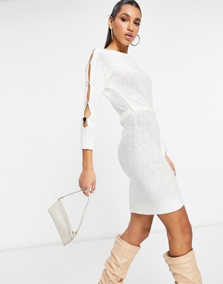 NaaNaa popper sleeve tie waist jumper dress in cream