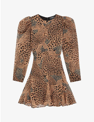 The Kooples Leopard-print crepe mini dress
