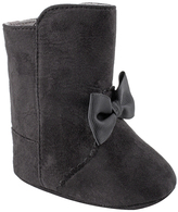 Baby Deer Black Bow Faux Suede Crib Boot