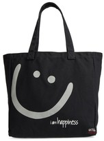 Peace Love World Oversized Canvas Tote - Black
