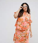 Asos Hawaiian Printed Blouse With Button Back And Ties Co-Ord