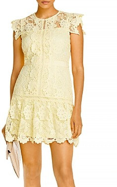 Aqua Lace Flounce Hem Mini Dress - 100% Exclusive