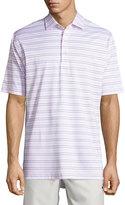 Peter Millar Striped Lisle-Knit Polo, White