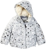 Steve Madden Microfiber Polka Dot Puffer Jacket with Faux Fur Lining (Baby Girls)