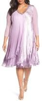 Komarov Plus Size Women's Embellished Layered Charmeuse & Chiffon Dress