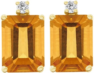 14K Emerald-Cut Gemstone & Diamond Accent Earrings