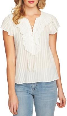 Cece By Cynthia Steffe Lace Up Ruffle Stripe Cotton Blouse