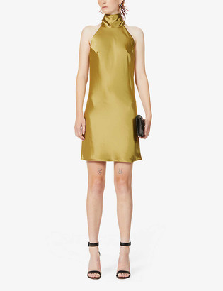 Galvan Sienna halterneck satin mini dress