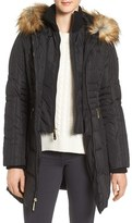 Vince Camuto Women's Faux Fur Trim Down & Feather Fill Parka With Inset Bib