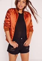 Missguided Premium Satin Bomber Jacket Orange