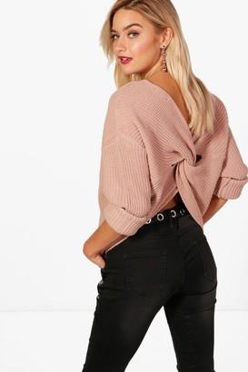 boohoo Crop Twist Sweater