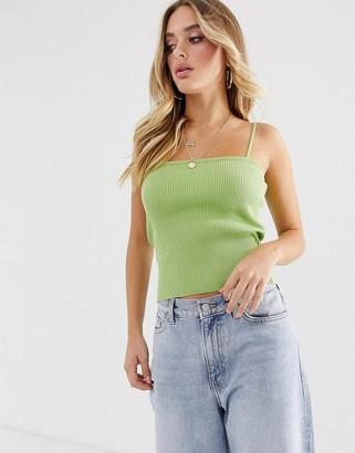 Asos Design DESIGN knitted skinny rib cami-Green