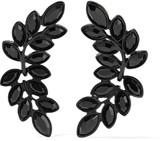 Kenneth Jay Lane Blackened crystal clip earrings