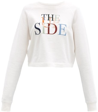 The Upside Faith Logo-embroidered Cotton-jersey Sweatshirt - White Print