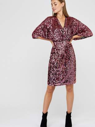 Monsoon Samba Sequin Twist Short Dress - Pink