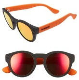 Havaianas Women's Trancoso 49Mm Mirrored Round Sunglasses - Black/ Orange