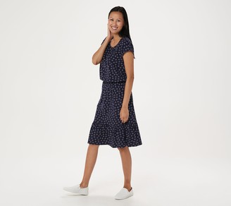 Denim & Co. Floral Print Dress with Ruffle Detail