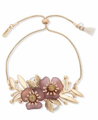 lonna & lilly Flower Slider Bracelet Gold and Burgundy