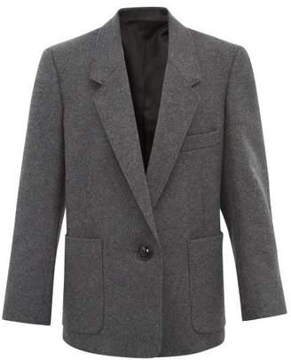 Lemaire Patch-pocket Wool-blend Blazer - Womens - Dark Grey