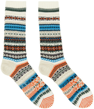 Yohji Yamamoto Off-White Intarsia Fairisle Socks