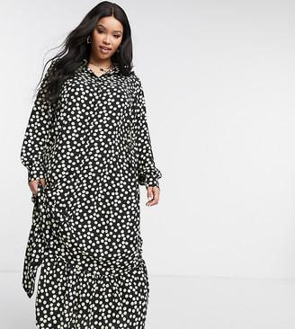 Glamorous Curve smock shirt dress in spot print