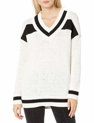 KENDALL + KYLIE Women's Vneck Rugby Sweater