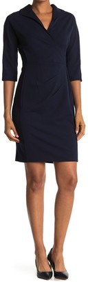 London Times Pleated 3/4 Sleeve Sheath Dress