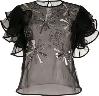 Alberta Ferretti Embroidered Ruffle Sleeve Blouse