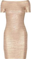 Herve Leger Carmen metallic off-the-shoulder bandage mini dress