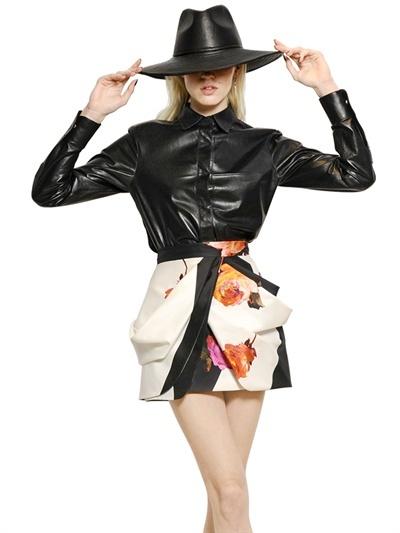 Blumarine Nappa Leather & Silk Chiffon Shirt