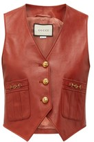 Gucci GG-button Leather Waistcoat - Womens - Brown