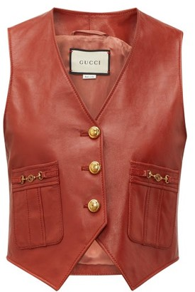 Gucci Gg Button Leather Waistcoat - Womens - Brown