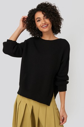 Trendyol Bike Collar Slit Sweater Black