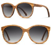 Shwood Women's 'Madison' 54Mm Round Wood Sunglasses - Walnut/ Brown Fade