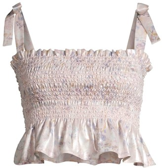 LIKELY Riviera Smocked Cropped Top