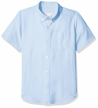 Amazon Essentials Husky Short-sleeve Oxford Shirt Button Blue L(H)