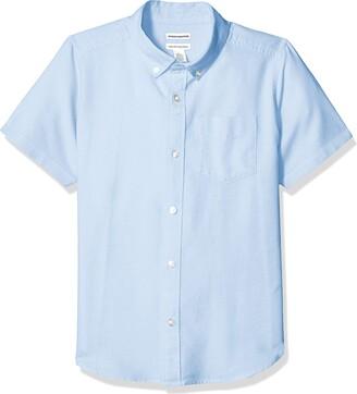 Amazon Essentials Husky Short-sleeve Oxford Shirt Button Blue M(H)