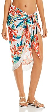 Vince Camuto Fringe Printed Pareo Swim Cover-Up