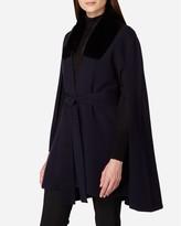 N.Peal Fur Trim Belted Cashmere Cape
