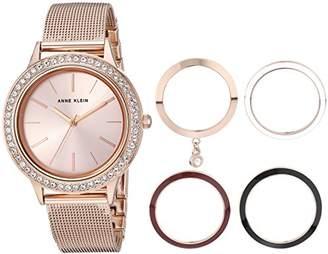 Anne Klein Women's -Tone Mesh Bracelet Watch and Interchangeable Bezel Set