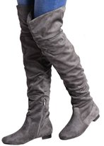 Fashion Wardrobe Womens Ladies Flat Low Heels Suede Over The Knee Boots Shoes Long Taupe Slouch