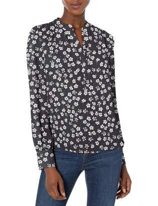 Lark & Ro Women's Shirred Band Collar Popover Dress
