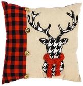 Evergreen Houndstooth Deer Pillow