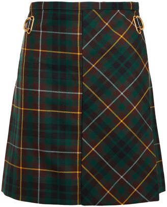 Burberry Checked Wool Mini Wrap Skirt